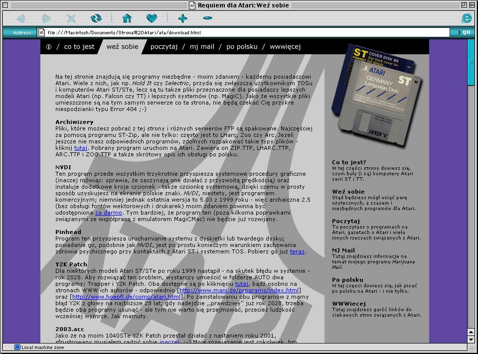 Zrzut ekranu przedstawiający okno przeglądarki Microsoft Internet Explorer nakomputerze Macintosh. Woknie wyświetlana jest starsza wersja tejstrony.