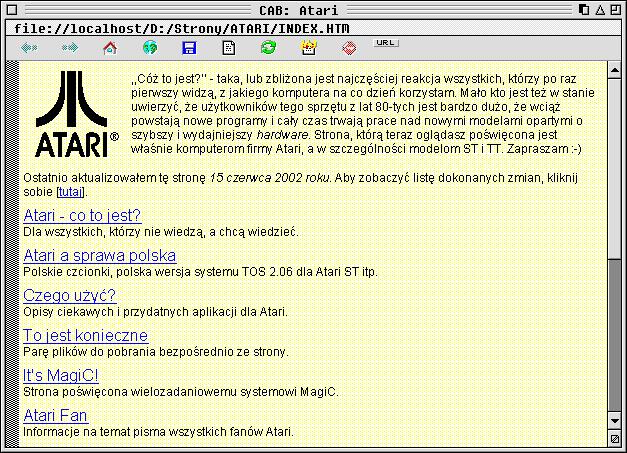 Zrzut ekranu, przedstawiający okno przeglądarki CAB, wktórymwyświetlana jest wersja tejstrony z2002 roku.