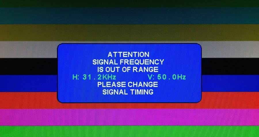 Komunikat naekranie monitora informujący onieprawidłowych parametrach sygnału.