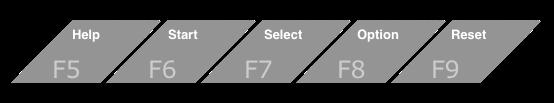 Klawisze funkcyjne ośmiobitowego Atari. Help toklawisz F5, Start toF6, Select toF7, Option toF8, aReset toF9.