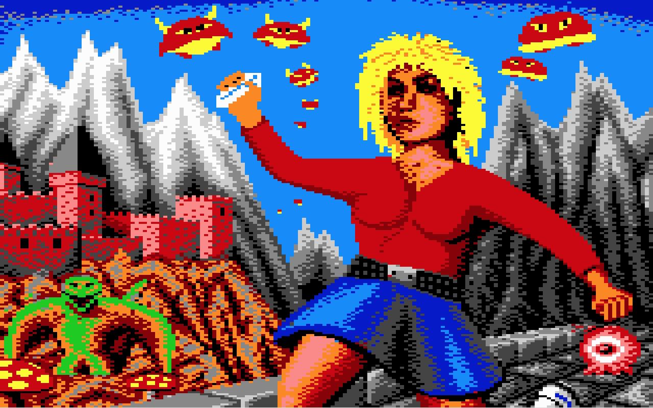 Rozpikselowana, ośmiobitowa ilustracja przedstawiająca ekran startowy gry The Great Giana Sisters naCommodore 64.