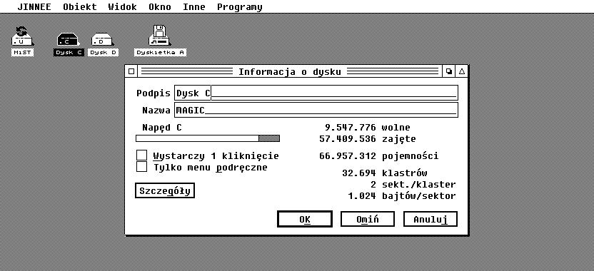 Zrzut ekranu polskiej wersji Jinnee.