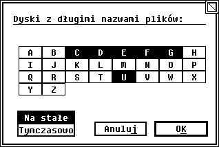 Zrzut ekranu: okno programu VFATCONF.PRG, pozwalającego nawłączenie obsługi długich nazw plików wsystemie MagiC.