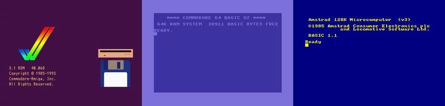Ekrany startowe różnych komputerów: Amigi, Commodore'a 64 orazAmstrada.