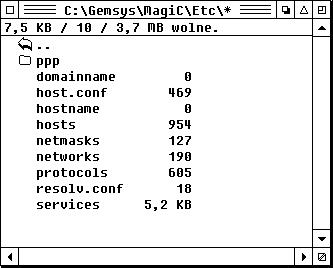 Zrzut ekranu: lista plików wfolderze C:/Gemsys/MagiC/etc