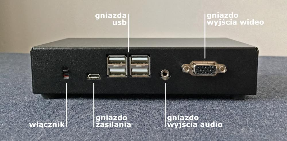 MiST widziany ztyłu. Strzałki wskazują włącznik, gniazdo zasilania, cztery gniazda USB, gniazdo wyjścia audio orazgniazdo wyjścia wideo.
