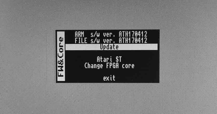 Menu MiST-a pozwalające nauaktualnianie oprogramowania sprzętowego.