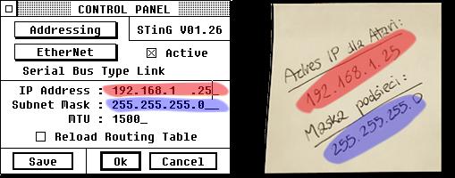 Zrzut ekranu: panel sterowania STinG‑a. Nazrzucie zaznaczony jest adres IP imaska podsieci. Obok widoczne jest zdjęcie przedstawiające karteczkę zzanotowanym adresem IP dla Atari orazmaską podsieci.