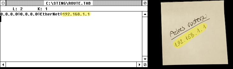 Zrzut ekranu: okno edytora tekstu naAtari zotwartym plikiem ROUTE.TAB iwpisanym adresem: 0.0.0.0, tabulator, 0.0.0.0, tabulator, EtherNet, tabulator, adres routera. Obok widoczne jest zdjęcie przedstawiające karteczkę zzanotowanym adresem routera.
