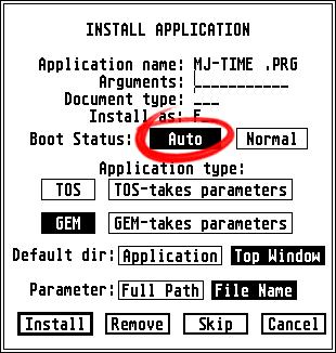 Zrzut ekranu: okno instalacji aplikacji wsystemie TOS. Zaznaczone jest pole Auto obok etykiety Boot Status.